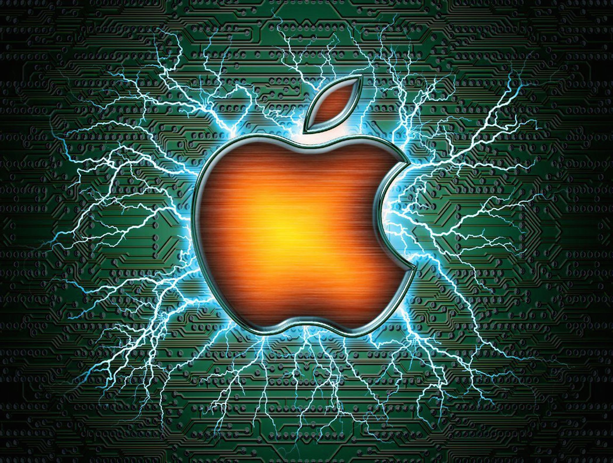Mac Apple Electric Wallpaper Symbolizing Enthusiasm For The New Iphone