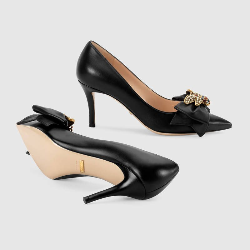 Shop the Leather mid-heel pump with bow