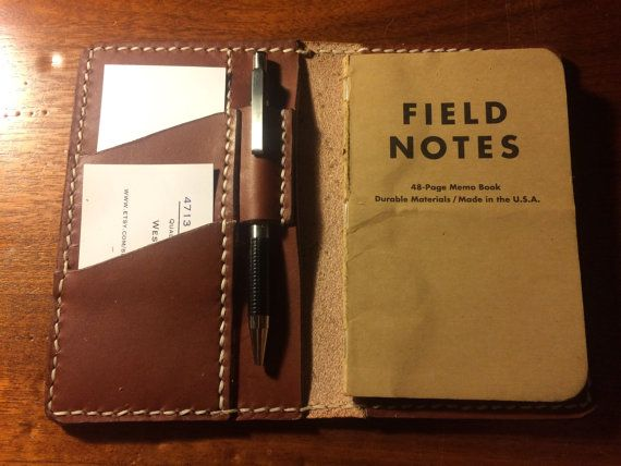 Field Notes Wallet Cover With Pen Loop By Leathernlovelies