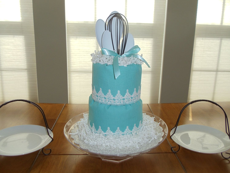 Blue/White Breakfast at Tiffany\'s Kitchen Towel Cake// Bridal Shower ...