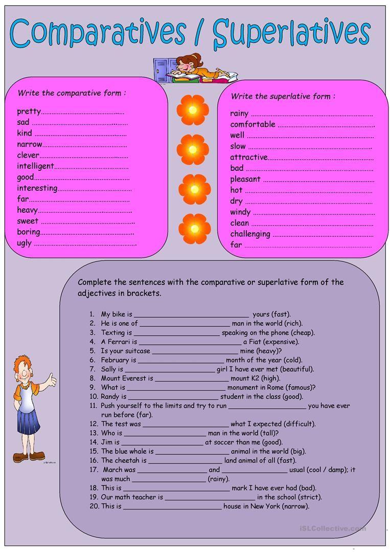 Comparatives Superlatives Superlatives Adjectives Sentence Forms