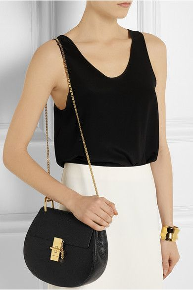 Drew Mini Textured-leather Shoulder Bag - Black Chlo obC67FUZ