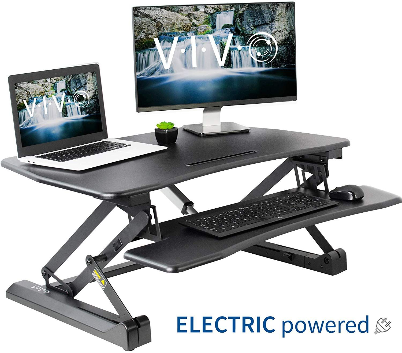 Vivo Black Electric Height Adjustable 36 Inch Standing Desk