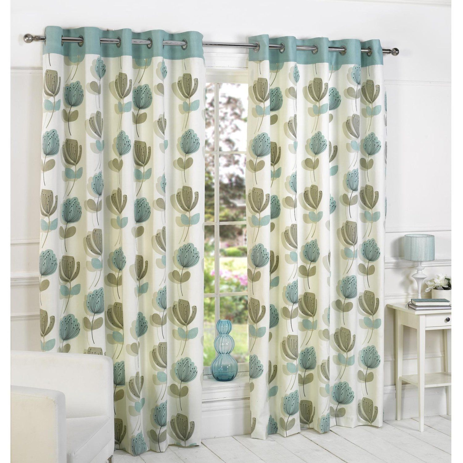 Lotti Modern Retro Floral Printed Design Readymade Lined Eyelet Curtains Cream Duck Egg Blue 90 X 90 Amazon Co With Images Curtains Printed Curtains Cream Curtains