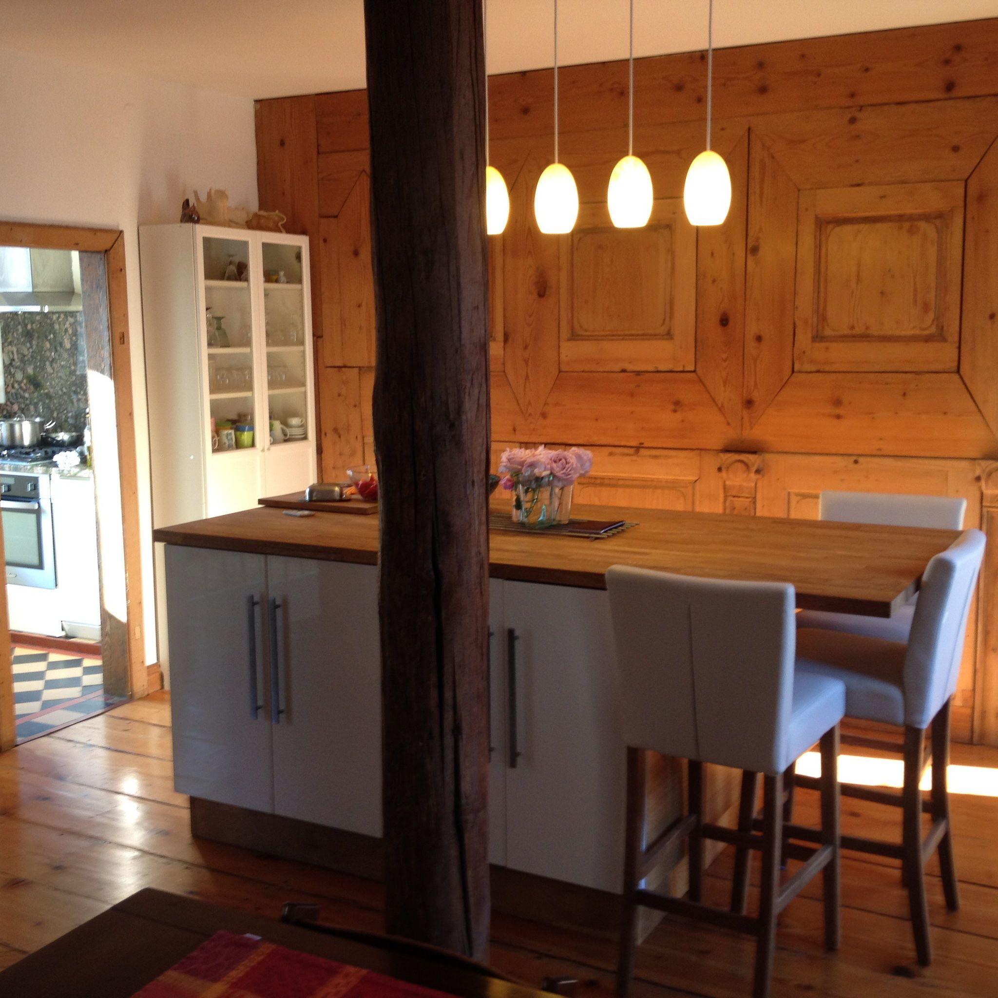 Customized Ikea Kitchen Island With Oakwood Panels Ilot De Cuisine Ikea Customise Avec Socle En Chene Massif Et Plan De Travail En Chen Home Decor Decor Home