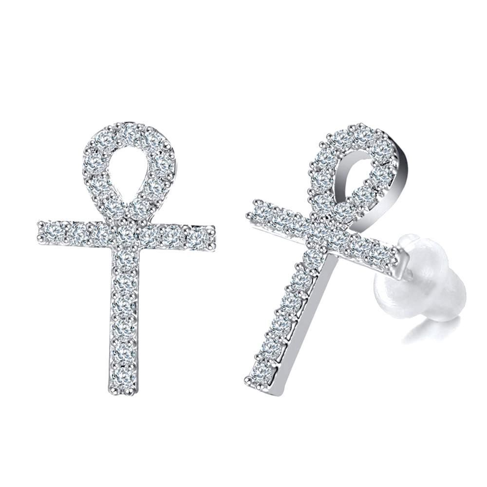 Sterling Silver Plain Ankh Cross Stud Earrings