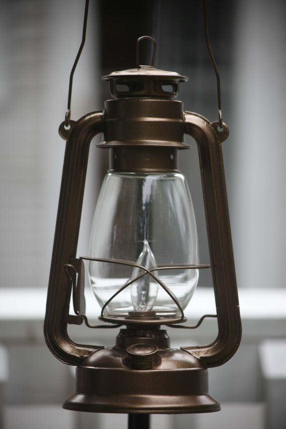 Basement Stair Lighting Pendant: Electric Hurricane Lantern Bronze HANGING By