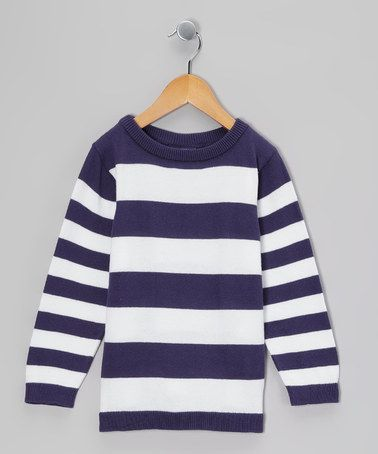Take a look at this Midnight & White Stripe Sweatshirt - Toddler & Boys by Klever Kids on #zulily today!