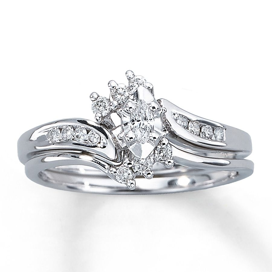 Diamond Bridal Set|1/4 Ct Tw Marquise Cut|10K White Gold Photo