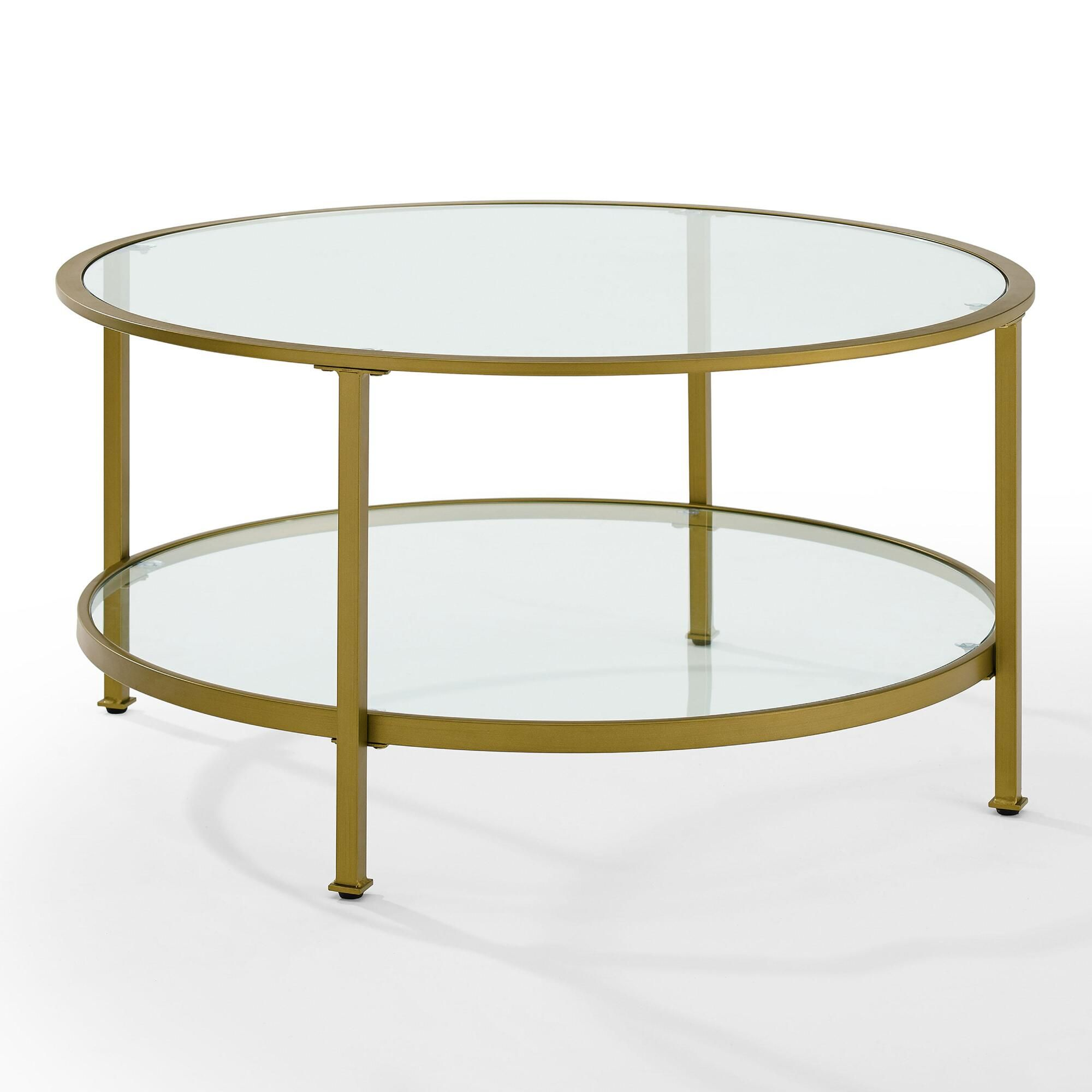 Round Gold Milayan Coffee Table With Shelf Glass By World Market Round Glass Coffee Table Coffee Table Gold Glass Coffee Table [ jpg ]
