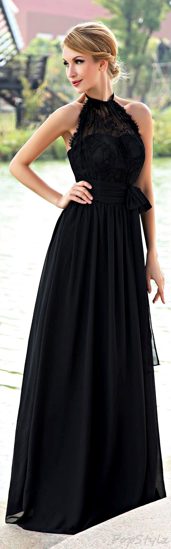 Honeystore low back chiffon gown in black would like it better as a