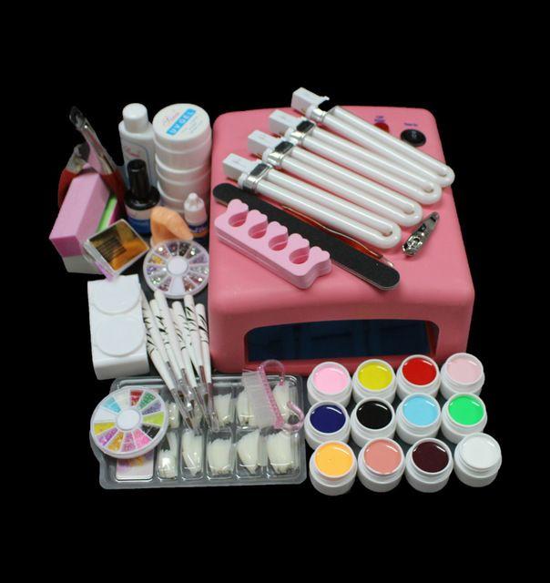 UC-93 Hot Sale Pro 36W UV GEL Pink Lamp &12 Colors UV Gel Nail Art ...