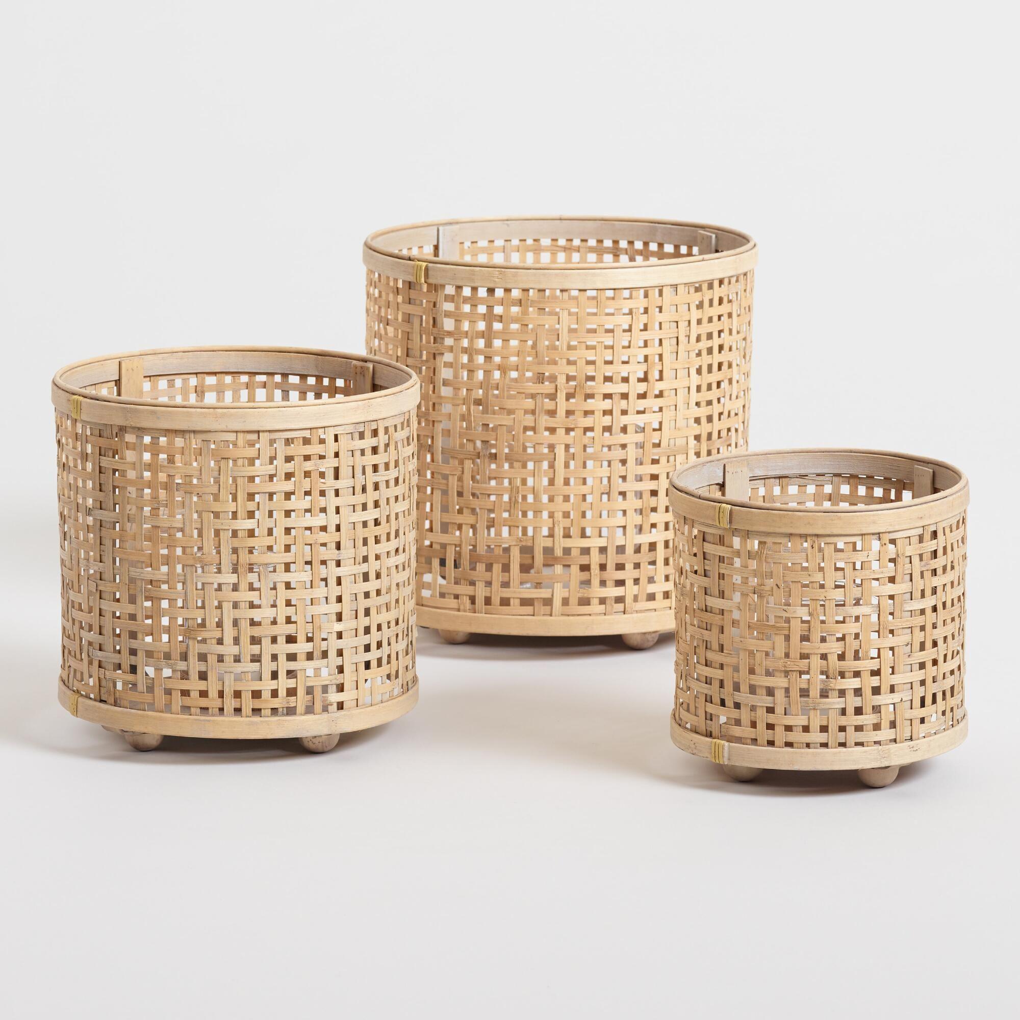 Natural Bamboo Basket Weave Hurricane Candleholder  Small