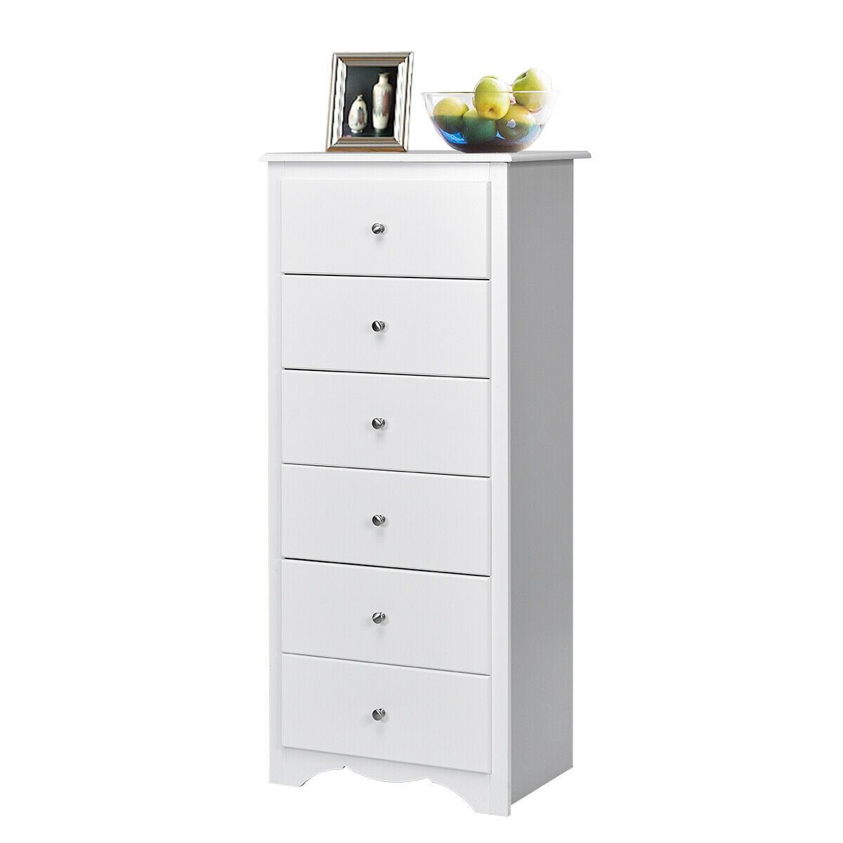Gymax 6 Drawer Chest Dresser Clothes Storage Bedroom Tall Furniture Cabinet White Walmart Com In 2020 Chest Dresser Tall Furniture 6 Drawer Chest