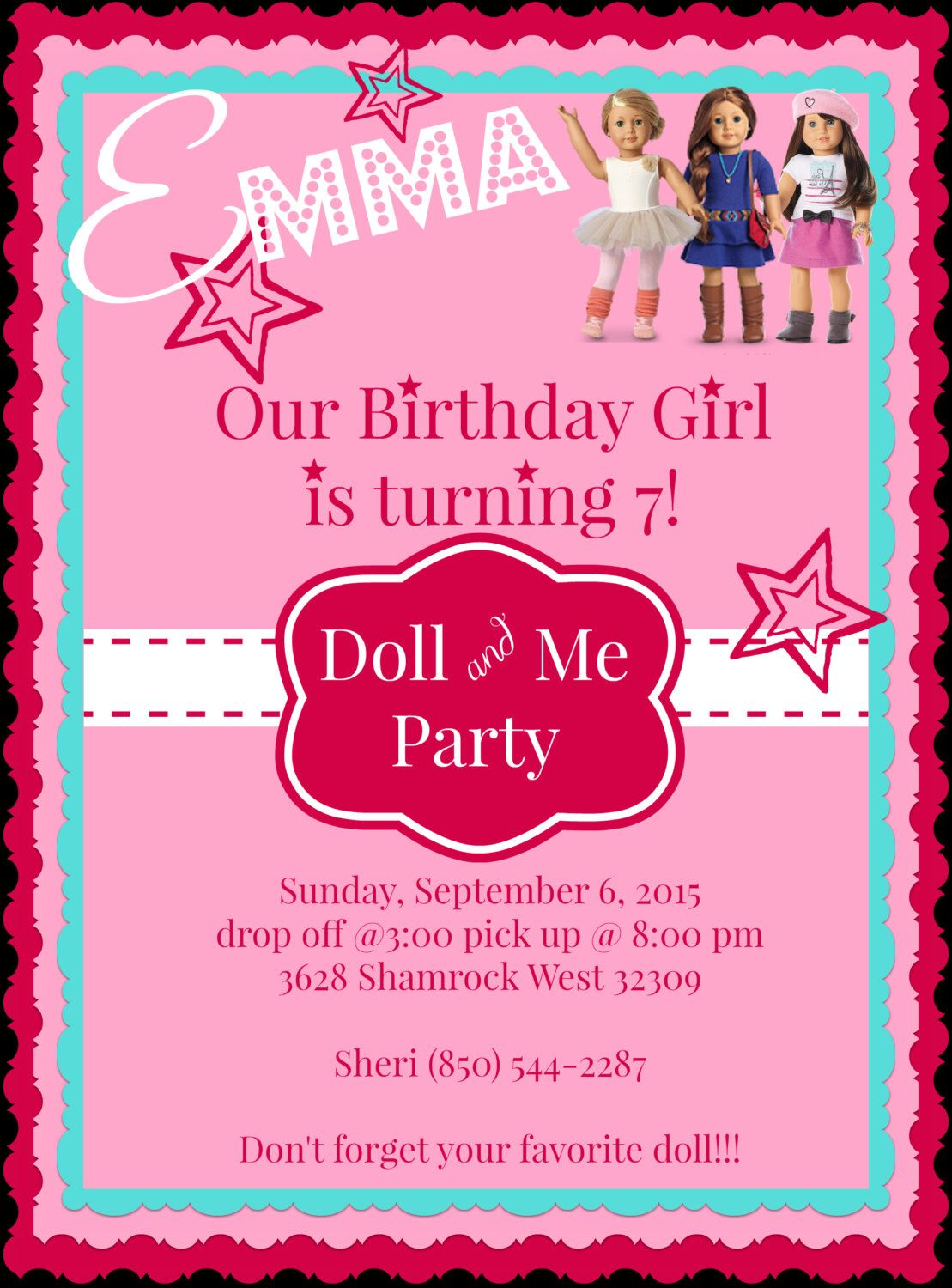 Printable Diy American Girl Doll Tea Party Invitation By