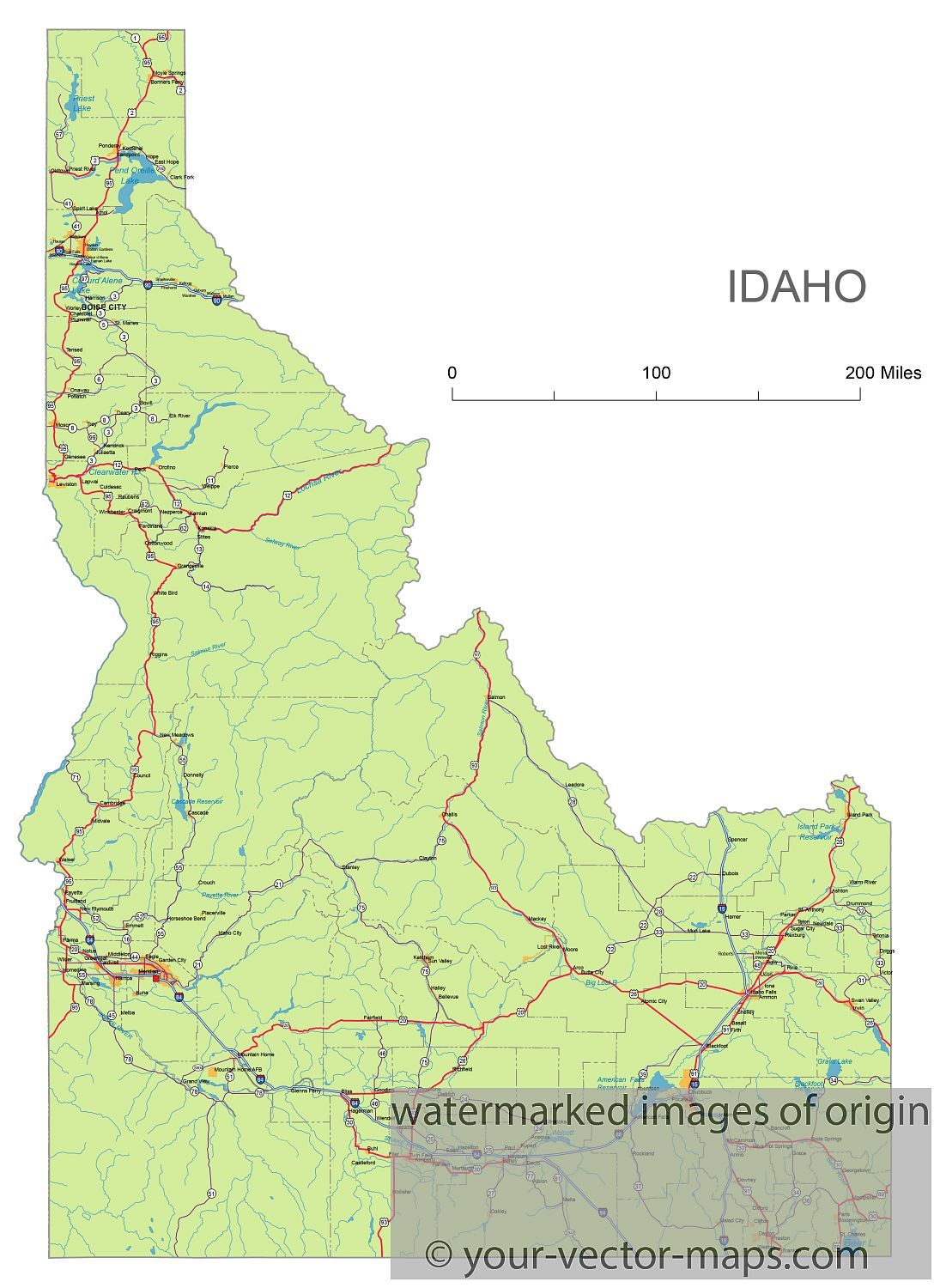 Idaho State Route Network Map Idaho Highways Map Cities