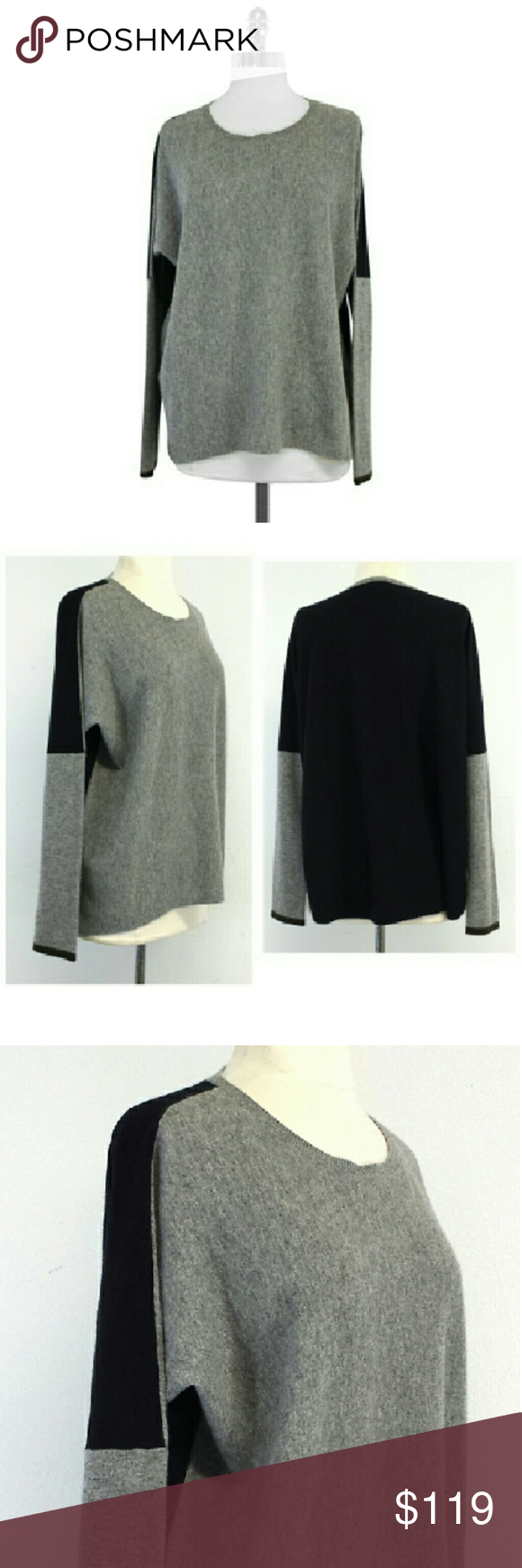 Vince- Grey & Black Cashmere Sweater Sz L | Black cashmere sweater