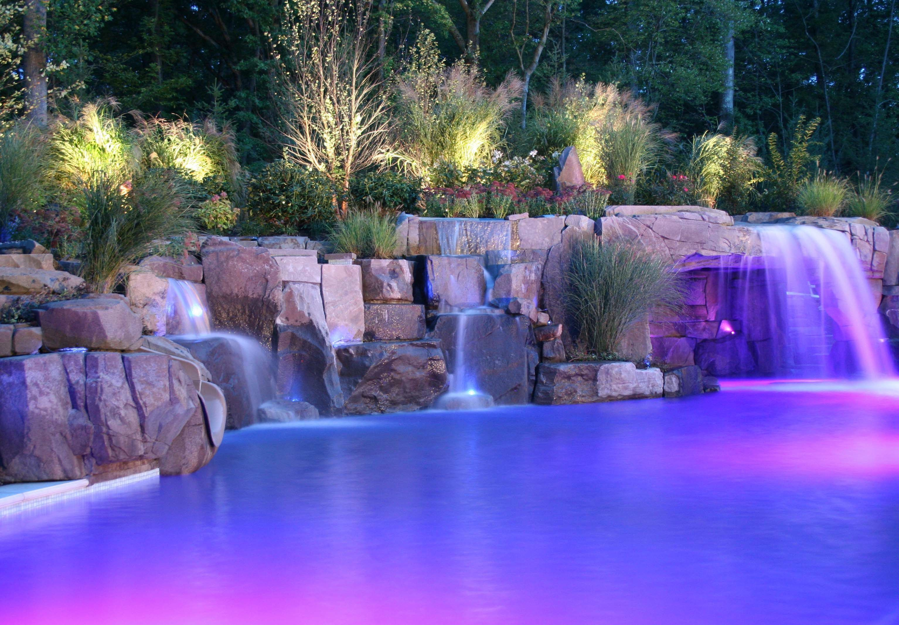 Pool Waterfall Lights Pesquisa Google Pool Waterfall Swimming Pools Backyard Pool Landscaping