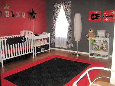Black Baby Crib Bedding And Blanket In A Rockstar Guitar Nursery With Red Walls