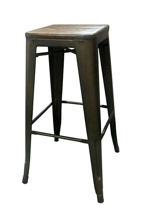 Rustic Wood Top Metal Bar Stool Stuart Event Rentals Metal Bar Stools Bar Stools Stool