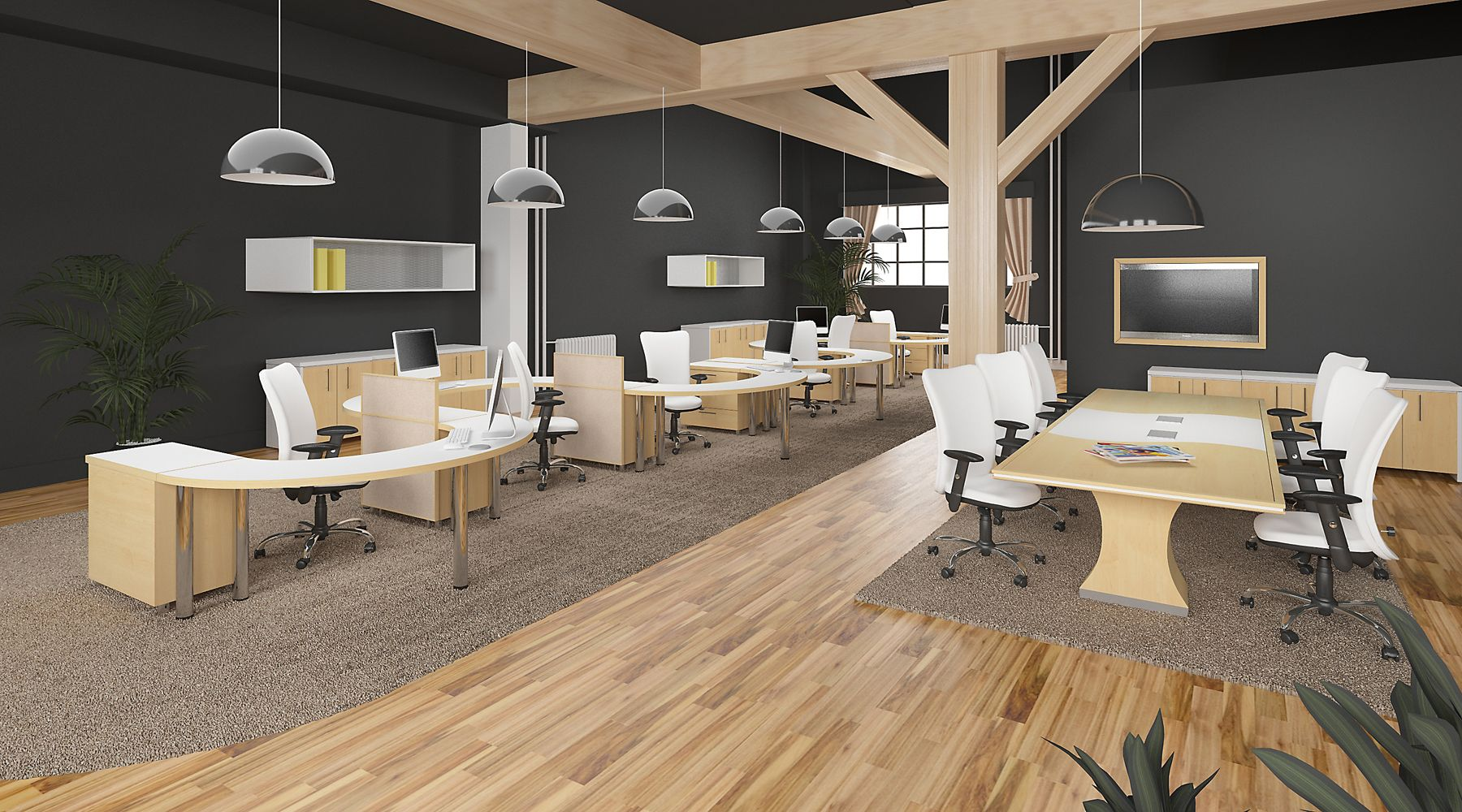 Modern office designed from a warehouse to black, white and maple ...