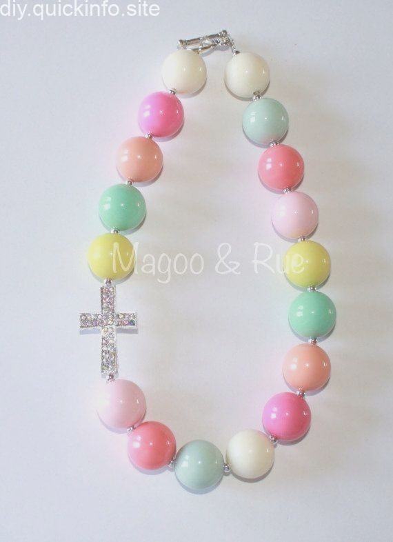 Easter Chunky Bead Necklace with Pastels and Rhinestone Cross Pendant on Etsy  Easter Chunky Bead Necklace with Pastels and Rhinestone Cross Pendant on Etsy