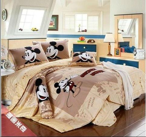 Hot sale! mickey mouse 4pcs adult bedding set queen king size falt ...
