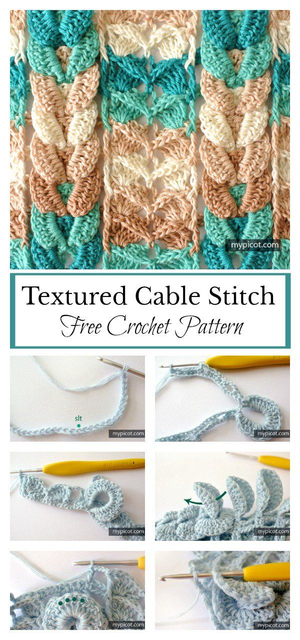 Cable Stitch Free Crochet Pattern | Ganchillo, Puntadas y Tejido
