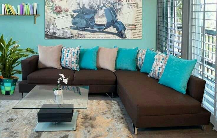Decorar en café y turquesa | Como decorar la sala, Colores ...