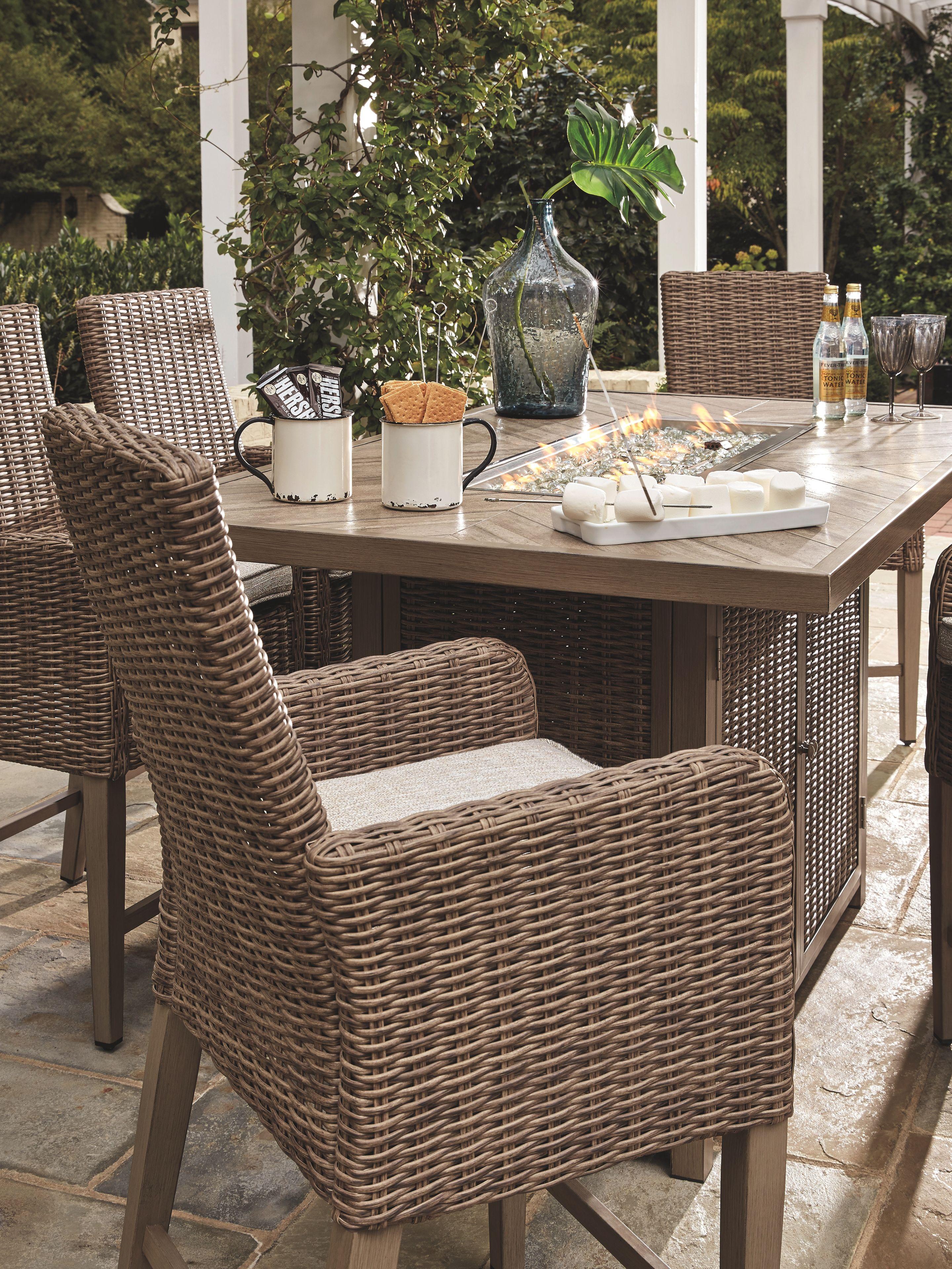 Sensational Beachcroft 5 Piece Outdoor Bar Table Set Beige Products Ibusinesslaw Wood Chair Design Ideas Ibusinesslaworg