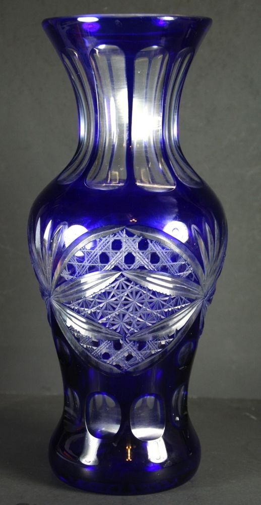 115 Imperilux Cobalt Blue 24 Lead Cut To Clear Crystal Vase Large