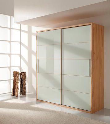 Kleiderschrank schiebetüren buche  Schwebetürenschrank Echtholz aus Buche mit Glasfront in weiß ...