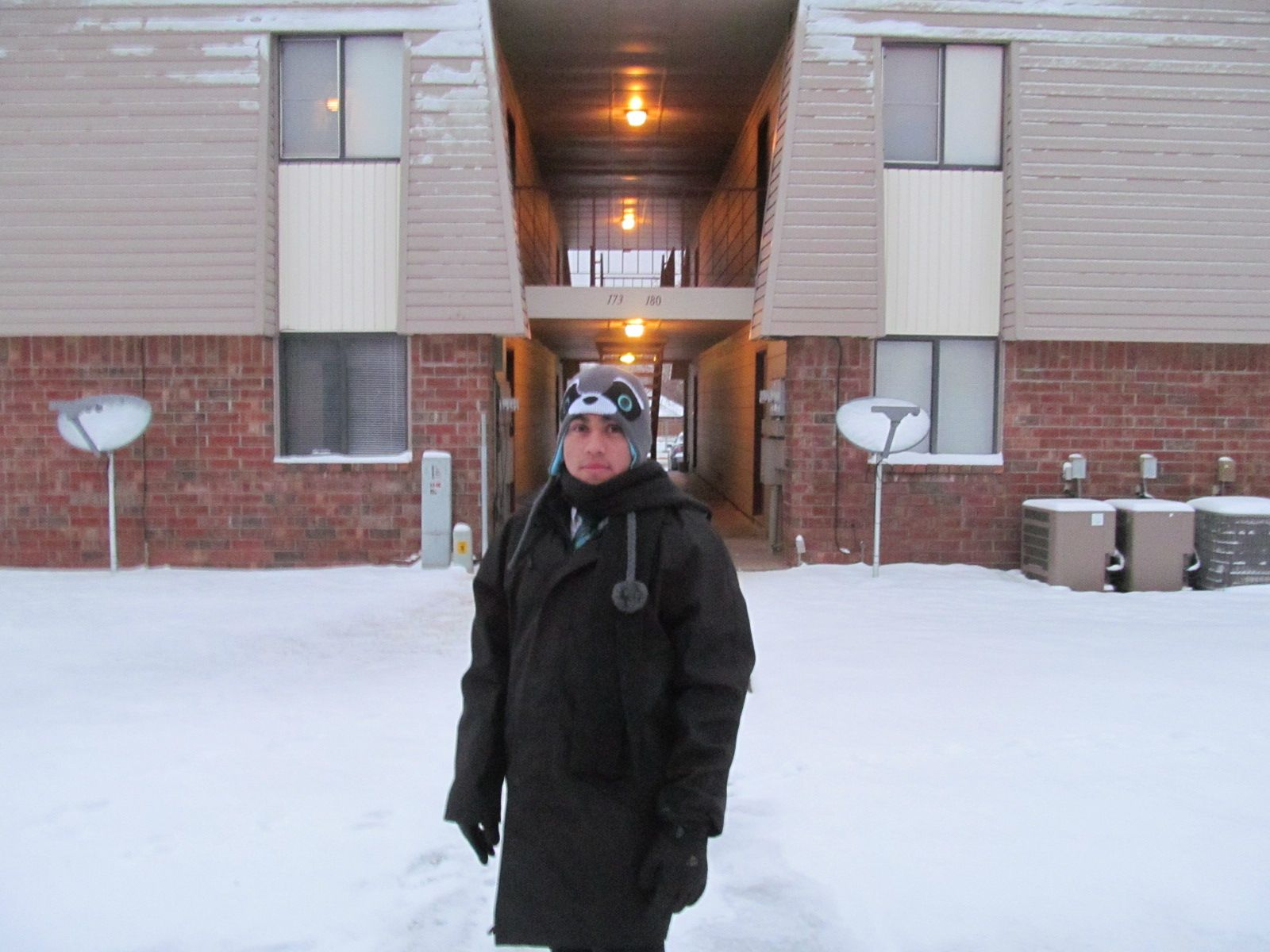 Elder Guzman and his awesome racoon hat. He was very patient with my desire to take a walk, even though it was so cold.