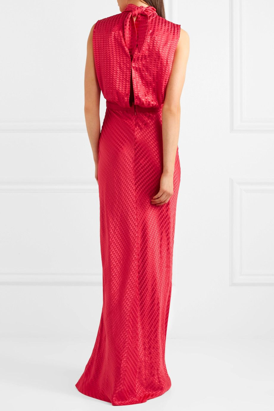 Fleur Silk-jacquard Gown - Crimson Saloni Sale Release Dates pBdsx8o