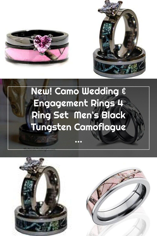 New! Camo Wedding & Engagement Rings 4 Ring Set Men's