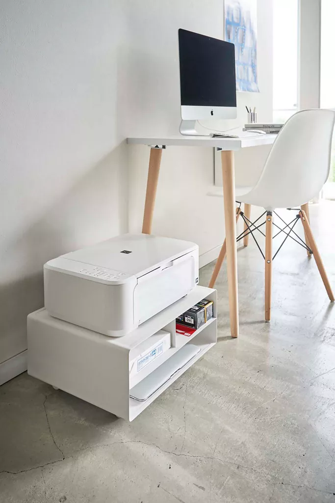 Modern Desktop Printer Stand In 2020 Printer Stand Printer Storage Desks For Small Spaces