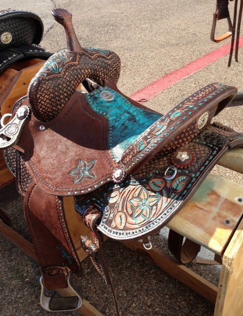 Double J Brown and Turquoise Barrel Saddle (I don't ride western but
