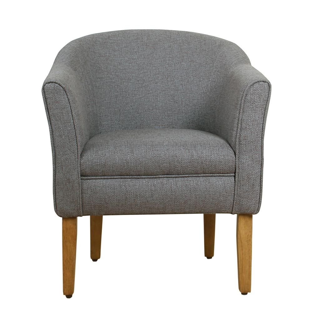 Adrian Charcoal Gray Accent Chair: Homepop Charcoal Textured Polyester Modern Barrel Accent