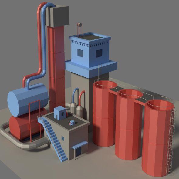 Low Poly Factory 3  3D model of a building  #3d #blue