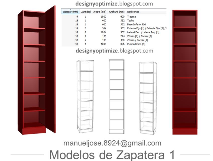 Dise o de muebles madera construir zapatera con planos for Programa para disenar cocinas integrales en linea