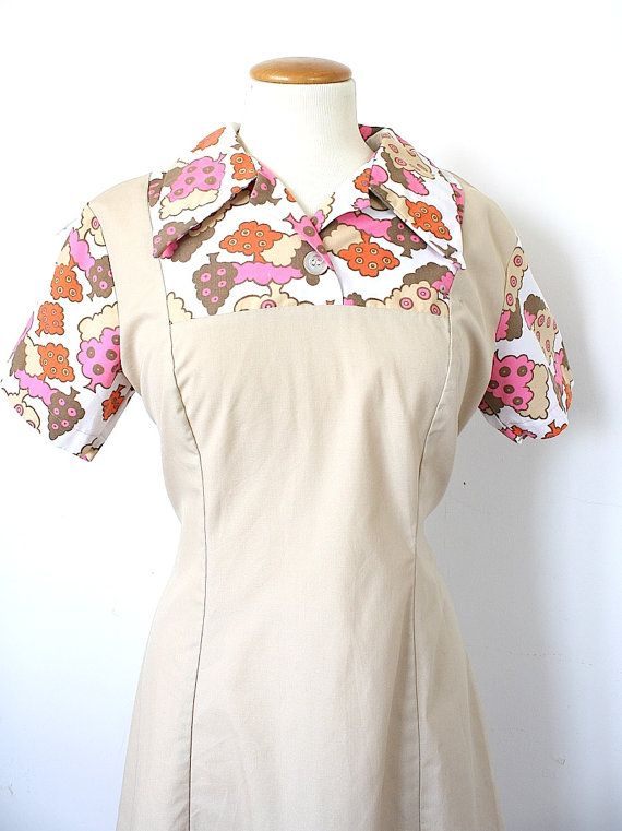 Vintage Waitress Uniform Dress Pink Orange Brown Dunkin Donut Donut Dress Vintage Outfits Clothes
