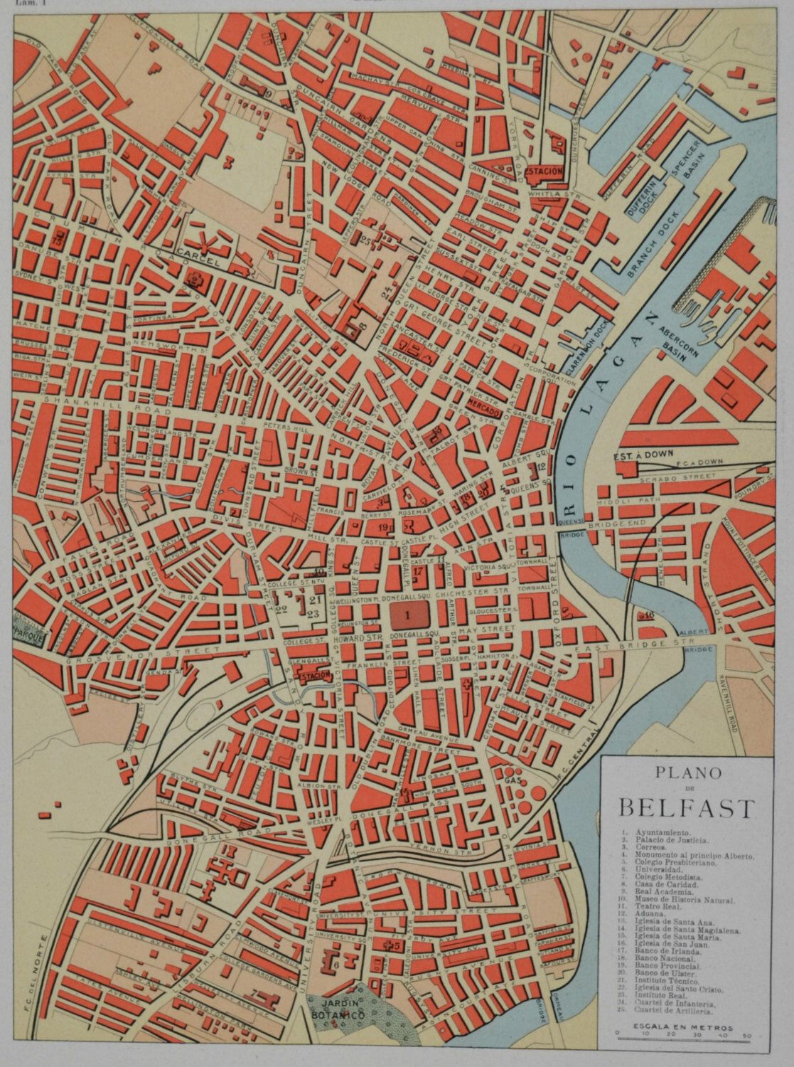 Belfast map at the beginning of 20th century. Old book plate, 1910 ...