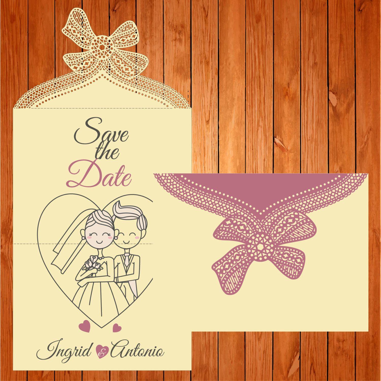 Invitación de la boda tarjeta plantilla, figuras, encaje, lazo (ai ...
