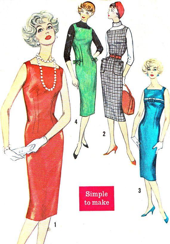1950s Dress Pattern Simplicity 2614 Square Neck Sleeveless Sheath ...