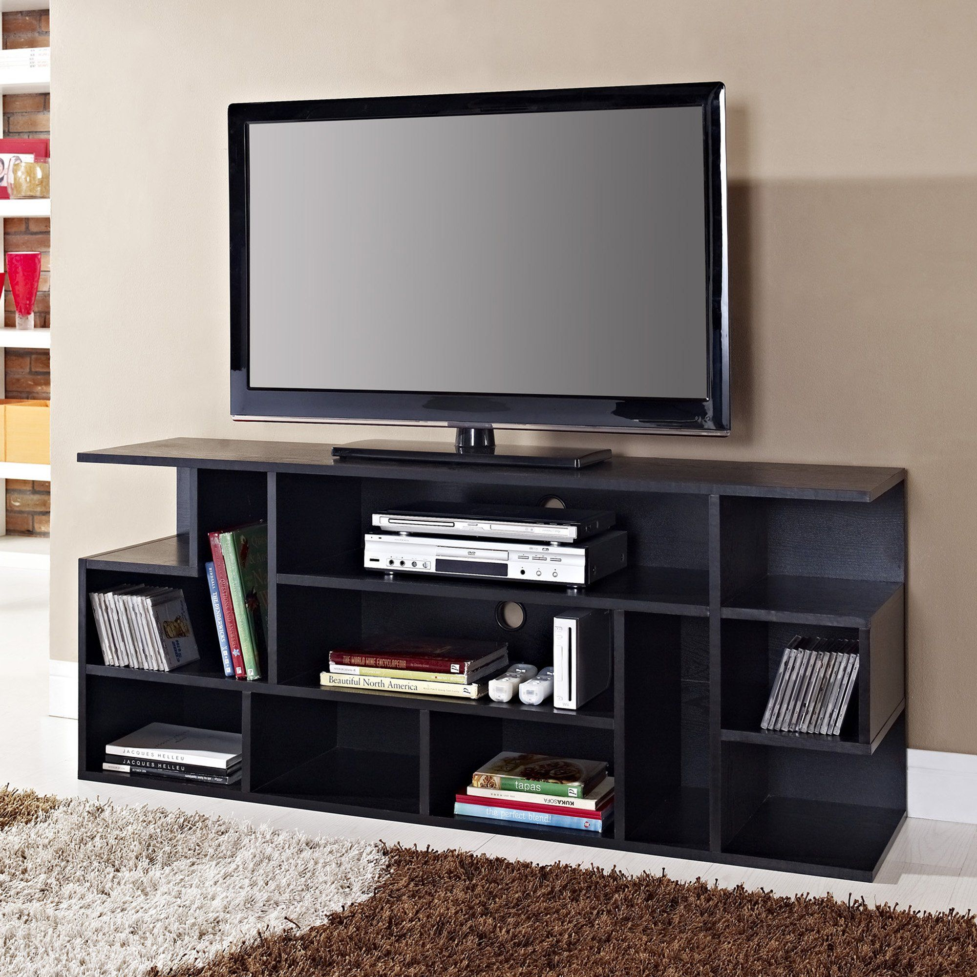 Amazon Com We Furniture Wood Modern Style Tv Stand 60 Inch Black Television Stands Tv Stand Wood Tv Stand With Storage Apartment Decorating On A Budget