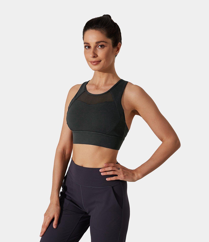 Women's Bloom, Medium Support~Crisscross, Mesh. Spandex-20%, Nylon-80%, Spandex, Nylon. Sweat-wicking, Breathable, 4-way stretch. Mesh. Machine
