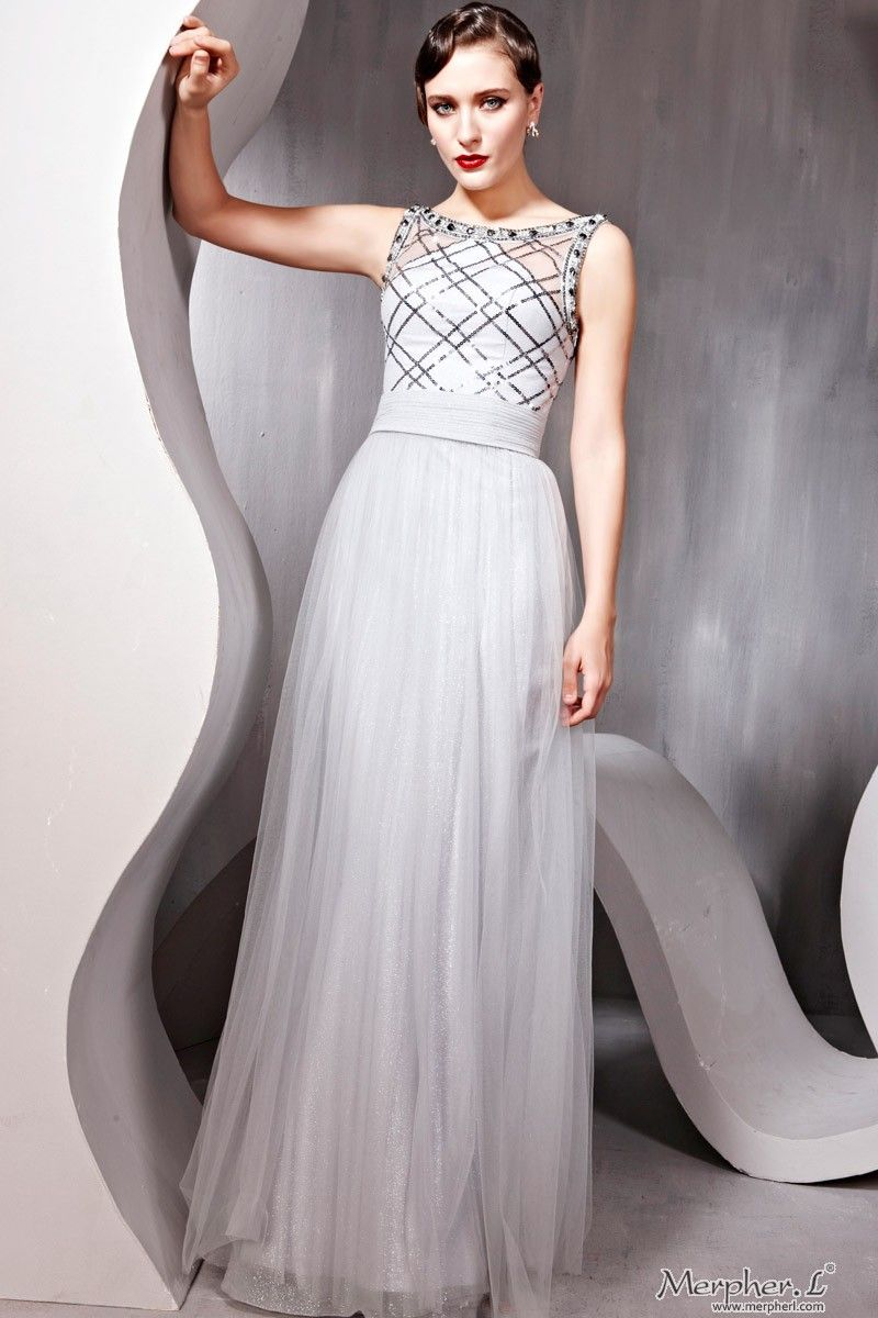 New fashional gray cocktail prom chiffon square formal long evening