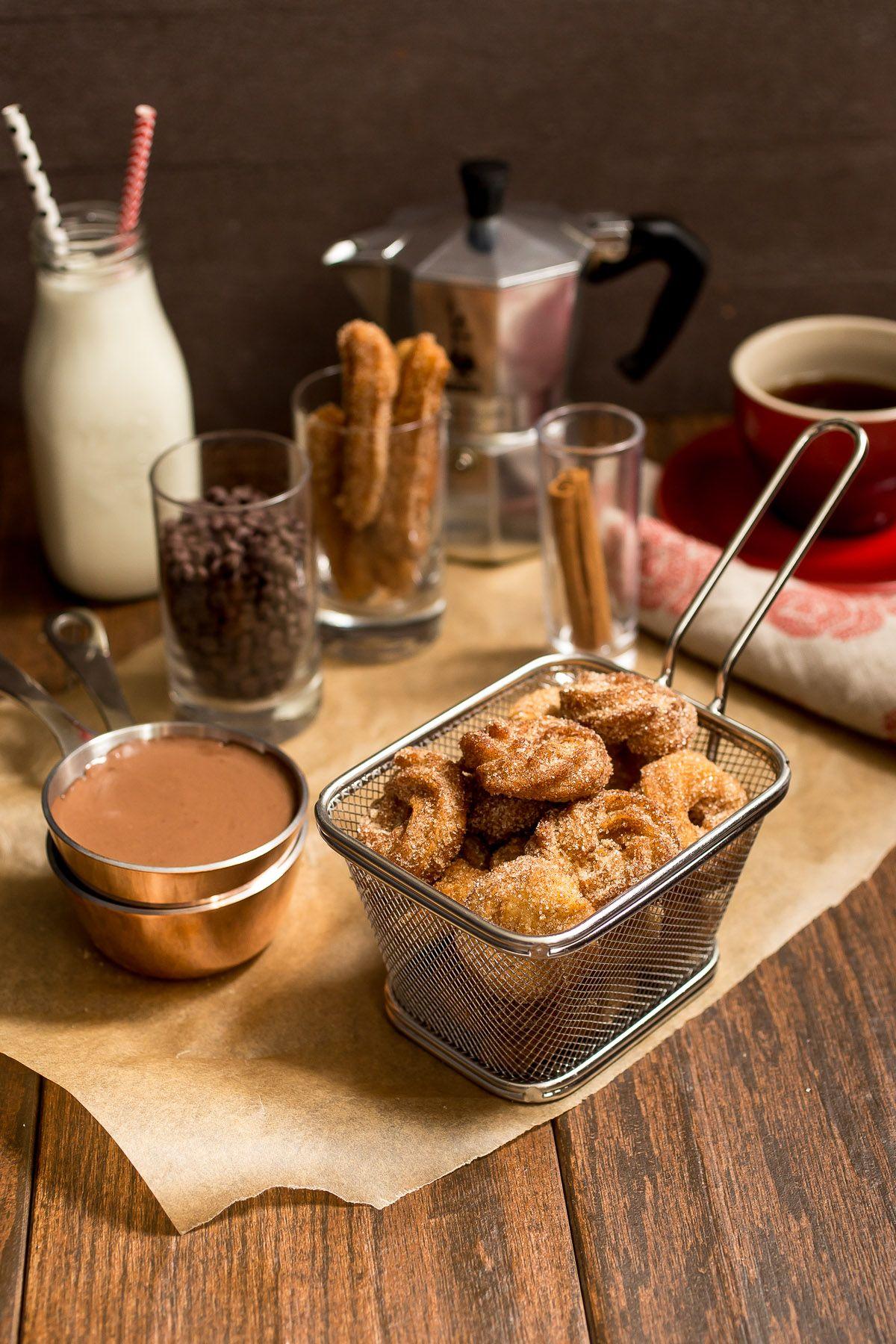 Churro Bites with Spicy Chocolate Sauce