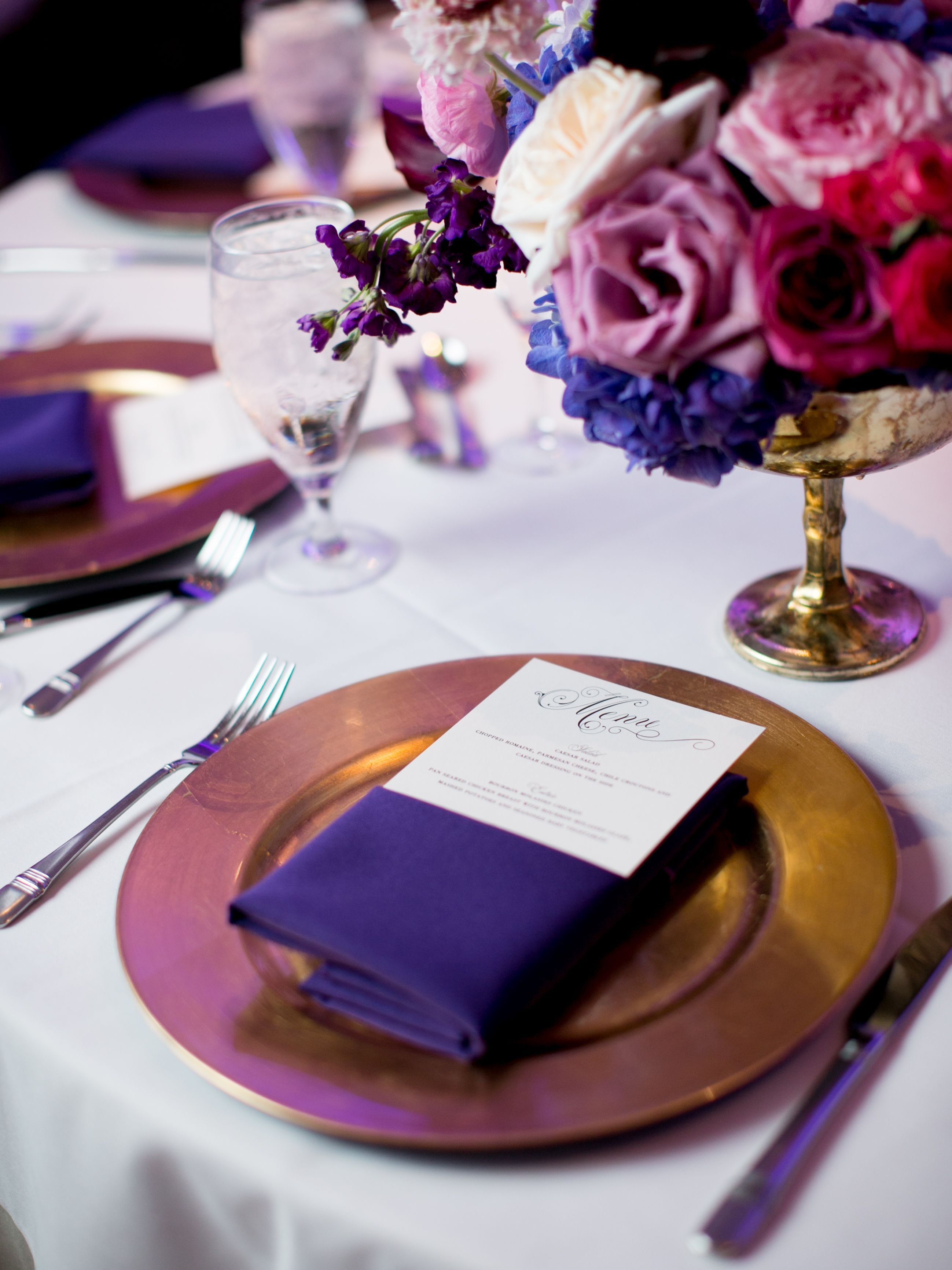 Purple And Gold Table Setting At Piazza In The Village Wedding Reception Purple Violet And Red Flor Gold Table Setting Red Wedding Flowers Red Wedding Theme