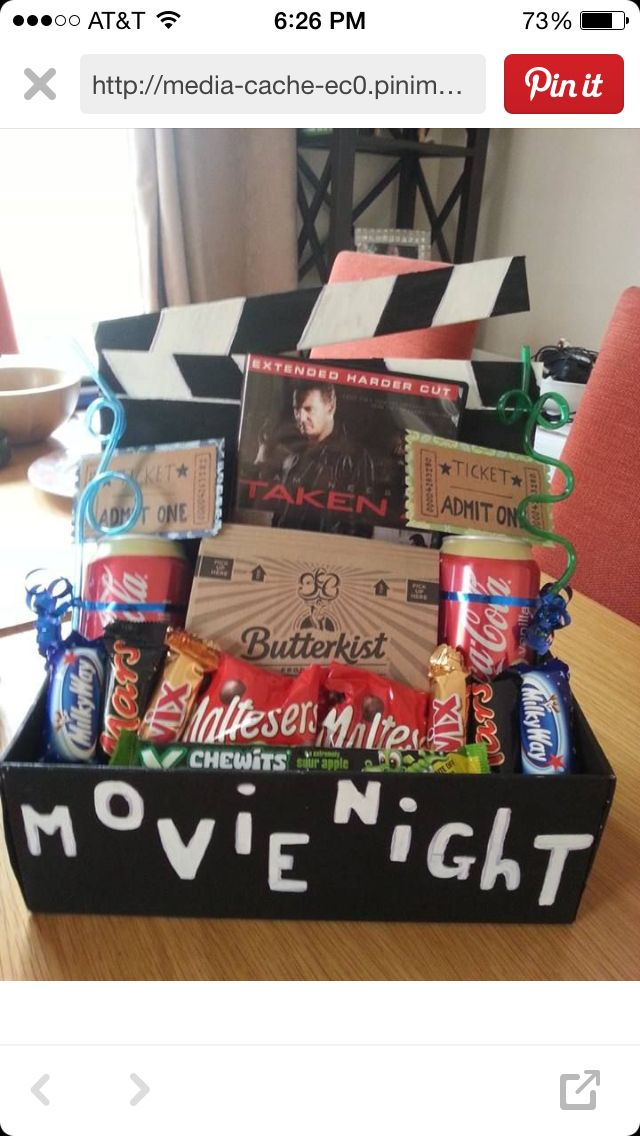 Fun One Day Movie Night Gift Basket